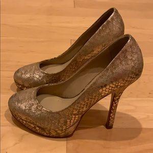 Joan & David gold leather platform heels